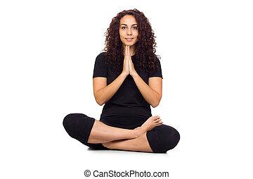 träningen, yoga, kvinna, brunett