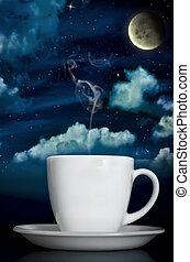 träumerisch, dämpfenden kaffee, unter, mondschein