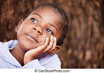 träumerisch, kind, afrikanisch
