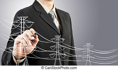 tråd, elektrisk, affär, ledningsstolpe, teckning, man