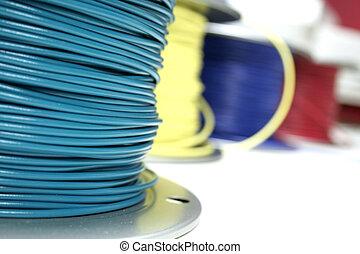 tråd, färgrik, knippe