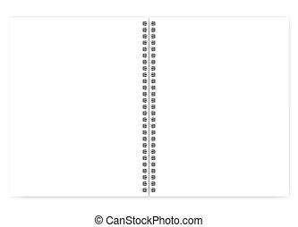 tråd, fri, spiral anteckningsbok, brev, vit, öppna, sidor, tom, storlek