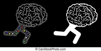tråd, ikon, lätt, ram, spring, hjärna, maska, glatt, fläckar