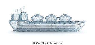 tråd, isoleret, olie, model, tanker, skib
