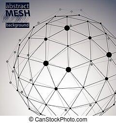 tråd, teknologiske, facon, polygonal, sort, eps8, rumlige, ...