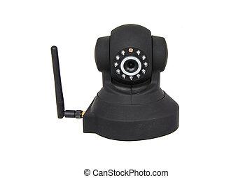 trådløs, kamera security, isoleret, hvid