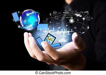 trådløs, medier, moderne teknologi, sociale