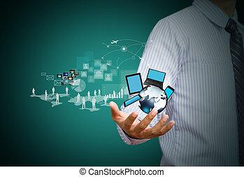 trådløs, medier, teknologi, sociale