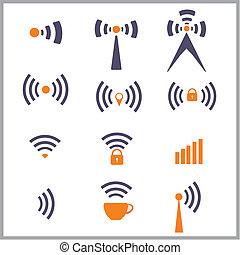 trådløs, symbol, netværk