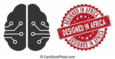 trångmål, hjärna, planlagt, afrika, elektronisk, ikon, ...