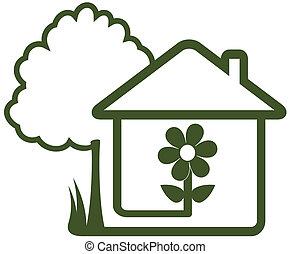 træ, blomst have, hus, hjem