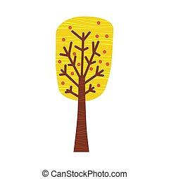 træ., byen, farverig, træ, park, isoleret, efterår, appelsin, vektor, skov, baggrund, fald, gul, cartoon, landskab, rød