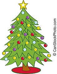 træ, cartoon, jul