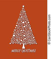 træ christmas, hilsen card, by, din, konstruktion