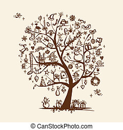 træ christmas, skitse, by, din, konstruktion