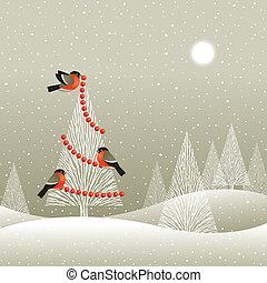 træ christmas, skov, vinter