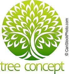 træ, cirkel, begreb, ikon