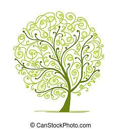 træ, din, kunst, grønne, konstruktion