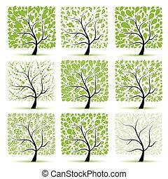 træ, din, kunst, samling, konstruktion