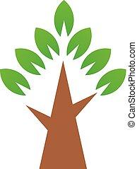 træ., enkel, symbol, vektor, grønne, logo