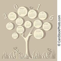 træ, facon, kalender, by, 2016