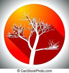 træ, farverig, ikon