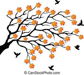 træ, flyve, silhuet, fugl