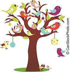 træ, fugle