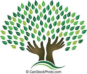 træ, håbende, hænder