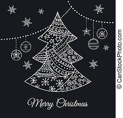 træ, hånd, sort, doodles, stram, jul