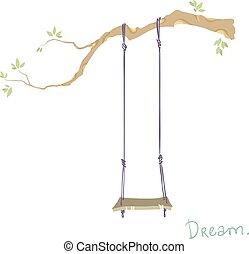 træ, hos, en, swing.