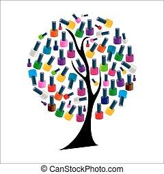 træ, illustration, negl, realistiske, vektor, pli
