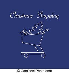 træ, indkøb, gift., cart, jul