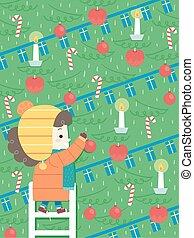 træ, jul, illustration, pige, barnet, xmas., udsmykke