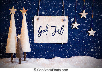 træ, jul, merry, sne, jul, blå, betyder, baggrund, sneflager...