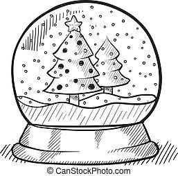 træ, klode, sne, jul, skitse