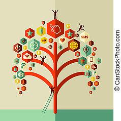 træ, netværk, farverig, sociale