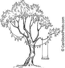 træ, og, svinge, sketch.