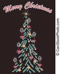 træ, retro, card, jul