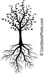 træ, silhuet, røder