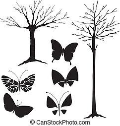 træ, silhuet, sommerfugle, vektor