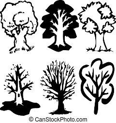 træ, silhuetter