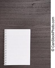 træ, skrivebord, hos, spiral notesbog