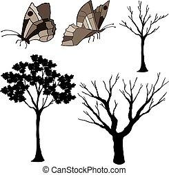træ, sommerfugl, silhuet, vektor
