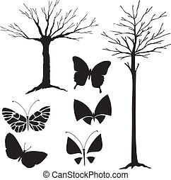 træ, sommerfugle, vektor, silhuet