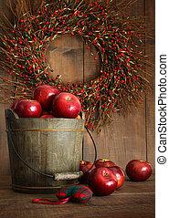 træ, spand, i, æbler, by, den, ferier