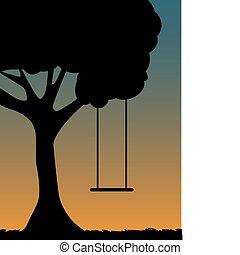 træ sving, silhuet, hos, halvmørket