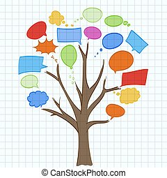træ, tale, avis, lagen, bobler