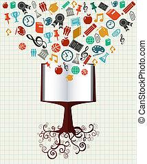 træ., undervisning, bog, farverig, iconerne