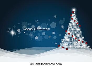 træ, vektor, illustration., baggrund, jul